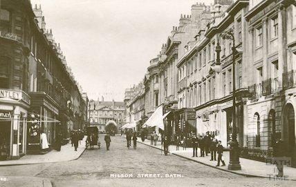 Milsom Street, view from south looking up street, c.1910