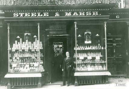 No 6. Milsom Street, Steele & Marsh, chemists with proprietor D. Evans in doorway, c.1920