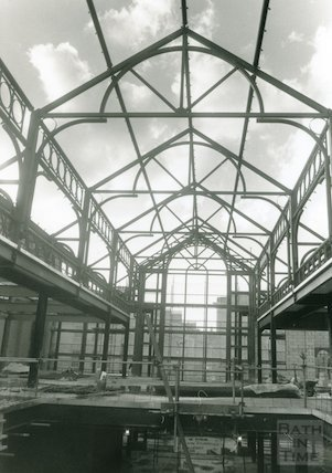 Podium Centre, Northgate Street, under construction. Roof framework, Feb 1989