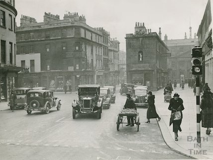 Old Bond Street, period view with cars and people, c.1930s