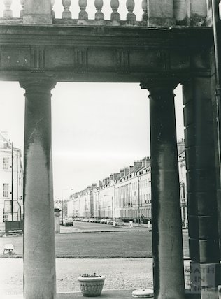 Great Pulteney Street, view from under the portico of the Holburne Museum, 16 April 1983