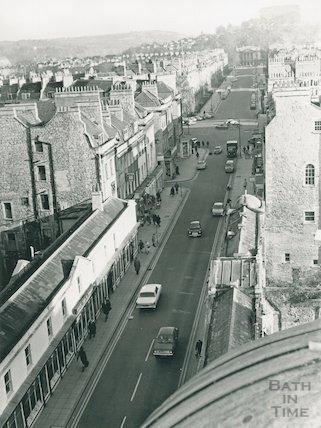 Rooftop panorama of Bath. Pulteney Bridge, Great Pulteney Street, 1960s