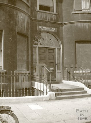 Doorway to St. Monica's Private Hotel (now Duke's Hotel) corner of Edward Street and Great Pulteney Street, c.1930s