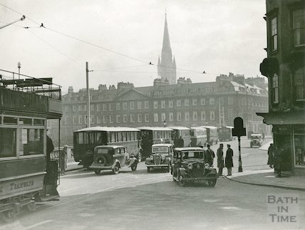 Terrace walk, view of buses and trams, c.1930s