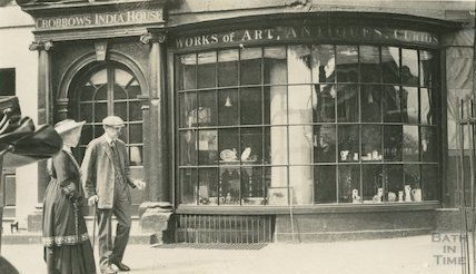2 Terrace Walk, Crobbows India House. Bow fronted shop front c.1915