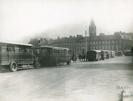 Terrace walk, view of buses and tramlines, c.1930s