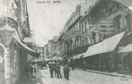 Union Street, shops with awnings, c.1900