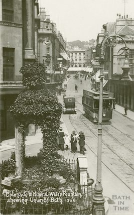 Colonnade, Mineral Fountain and tram, Union Street, c.1920