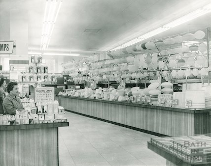 The lighting department in Woolworth's Bath, c.1950s