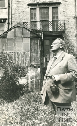 The late Sir Patrick Moore in the garden of the Herschel Museum, New King Street, Bath, 31 July 1978