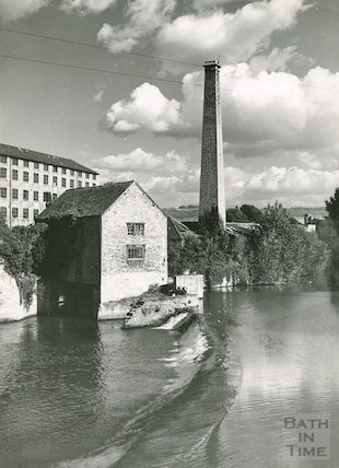 View of the mill and sluice at Twerton on the River Avon, c.1960s