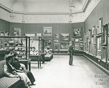Inside the Upper Gallery, Victoria Art Gallery, Bath, c.1900