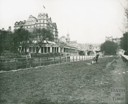 The Empire Hotel from the opposite side of the River Avon, c.1906