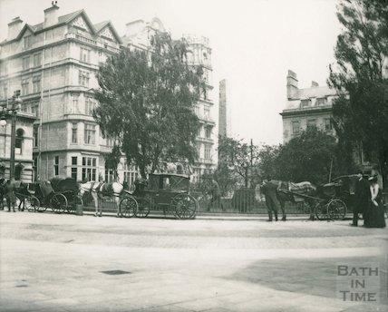 Horse drawn taxis at Orange Grove, Bath, c.1906