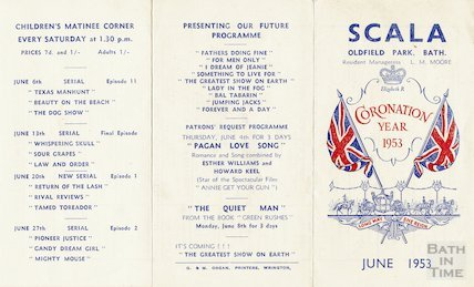 Scala Cinema, Oldfield Park, Bath Coronation programme, June 1953