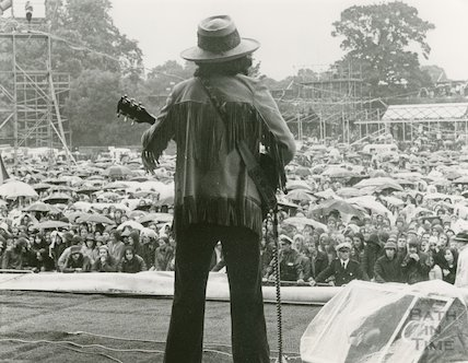 Micky Jones of Man onstage at an unidentified rock festival, c.1970s