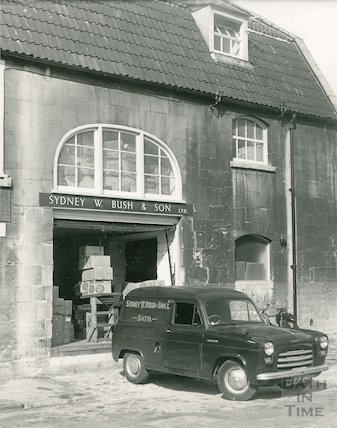 The delivery van and store of Sydney W. Bush & Son, Milk Street, Bath, 25 September 1964