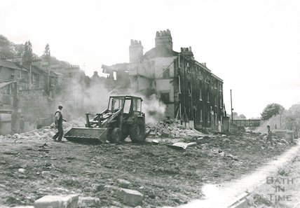 The demolition of Waterloo Buildings, Widcombe, 1969