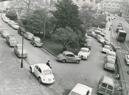 Parking on Queen's Parade, Bath, February 1968.