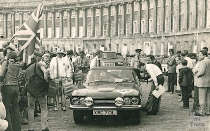 A competitor from a car rally on the Royal Crescent, Bath, 23 June 1973