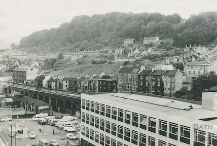 The Esso Garage, Stothert & Pitts new offices, Lower Bristol Road and Calton Road in the background, c.1968