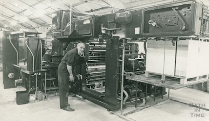 A print operator at Pitman's New Press, Lower Bristol Road, Bath, 26 January 1984