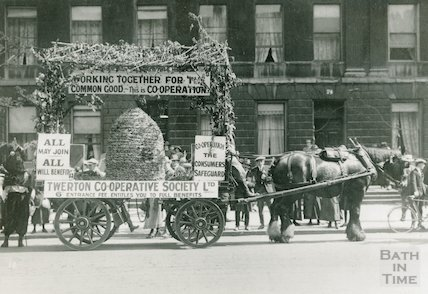 Horse and Cart promoting the Twerton Co-op, Great Pulteney Street, Bath, c.1920s