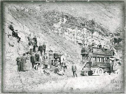 A motor bus outing from the Bath Electric Tramway company to Cheddar Gorge, c.1910