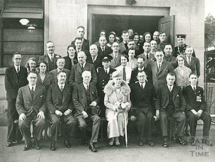 Queen Mary visiting Avon Rubber Co, Melksham, October 1941