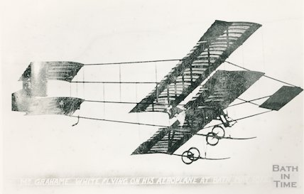 Grahame White flying his aeroplane at Bath's first aviation meeting, May 1912