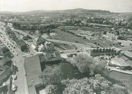 Looking down from the spire of St Matthews over Widcombe, 5 September 1989
