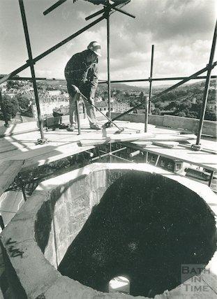 Restoring the spire of St Swithin's Church, Walcot, September 1989