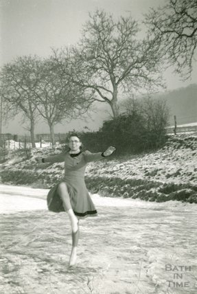 Skating on the frozen Kennet and Avon Canal, Limpley Stoke 1940