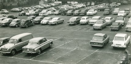 The temporary car park on the old Northgate Brewery Site, Walcot Street, Bath, c.1963