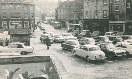 The car park on the site of the Seven Dials Centre, Sawclose and Westgate Street, c.1965