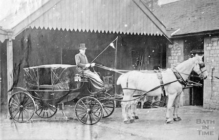 A fine coach and horse, probably in Radstock, c.1900