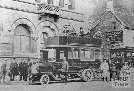 Bath Electric Tramways motor coach at The Island in Midsomer Norton, c.1910