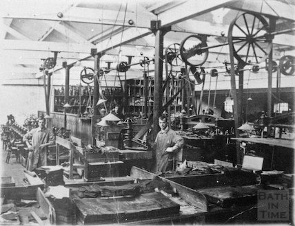 Inside a shoe factory, possibly Clarks, Radstock, c.1910