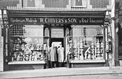 Staff outside W. Chivers & Son in Radstock? c.1900s