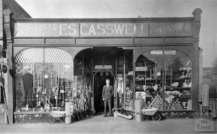 A smart man outside F.S. Casswell, ironmonger and furnisher, Radstock? c. 1920s?