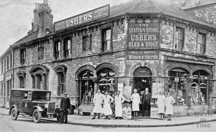 Staff outside the Station Store, Radstock, c.1910s