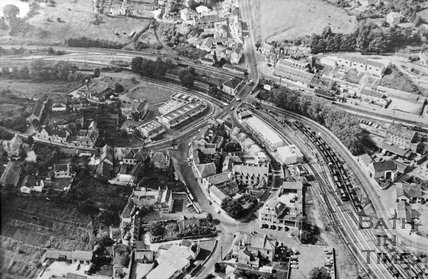 c.1950s? Aerial view of Radstock centre and railway