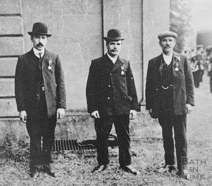 Three gentlemen with medals in the Radstock area, c.1900s