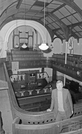 A vicar inside Radstock Methodist Chapel, c.1980s?