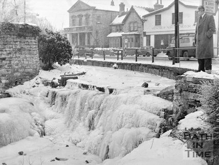 The frozen River Somer in Midsomer Norton, c.1963