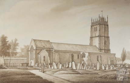 View of St Mary's Bitton from path from Vicarage, 1817