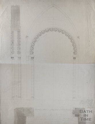 Technical drawing of elevation and section of St Mary's Church proposed arch