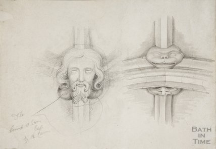 Sketch of Bosses in Chancel roof of St Mary's Bitton by Woodruff, 1825