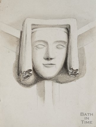 Sketch of Boss in Chancel roof of St Mary's Bitton by Woodruff, 1825
