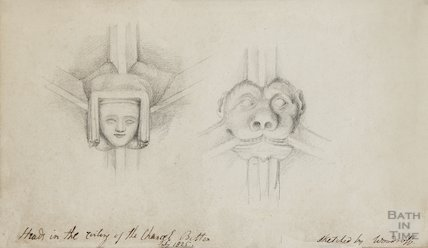 Sketch of Boss in Chancel roof of St Mary's Bitton by Woodruff - medieval woman's face and devil's mask, 1825